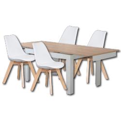 Pack de Mesa de Jantar Extensível FLORENÇA Branco + 4 Cadeiras de Sala SOFIA II