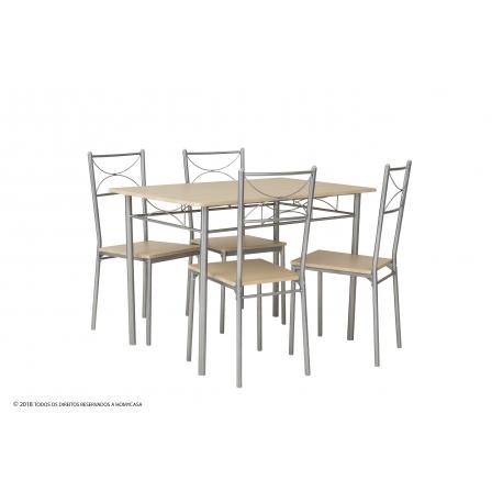 Conjunto Mesa e 4 Cadeiras NISSE II - Carvalho