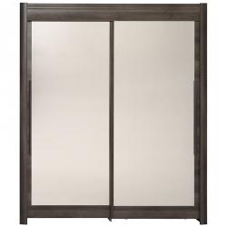Roupeiro 2 portas e 2 Espelhos FAMOSO 180cm Castanho