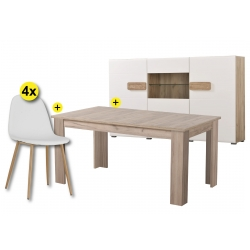 Pack Aparador BERT, Mesa Extensível OSCAR e 4 Cadeiras LEE Branco