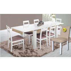 Pack de Mesa de Jantar Extensível CHIADO + 6 Cadeiras de Sala ISABELINHA Bege