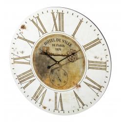 Relógio de Parede MDF Branco e Bege