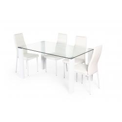 Pack de Mesa de Jantar LOLA II + 4 Cadeiras de Sala ZARA Branco