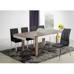 Pack de Mesa de Jantar Extensível PARIS Cinza + 4 Cadeiras de Sala CALLY Cinza