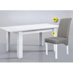 Pack de Mesa de Jantar Extensível BARCELONABranco + 4 Cadeiras de Sala ISABEL Tecido Cinza