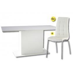Pack de Mesa de Jantar ICY + 4 Cadeiras de Sala CALLY Branco