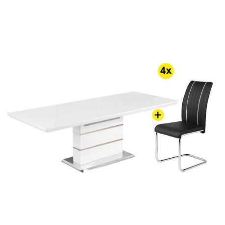 Pack de Mesa de Jantar ENRICO + 4 Cadeiras de Sala FABIO