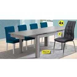 Pack de Mesa de Jantar Extensível FLORENÇA Cinza + 4 Cadeiras de Sala CALLY Cinza