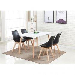 Pack Mesa de Jantar DENVER + 4 Cadeiras SOFIA Preto