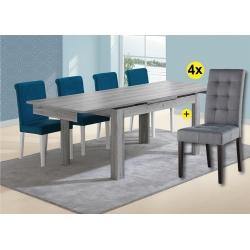Pack de Mesa de Jantar Extensível FLORENÇA Cinza + 4 Cadeiras de Sala FLORIDA Cinza