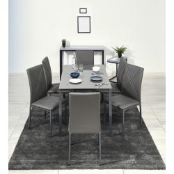 Conjunto Mesa e 6 Cadeiras ALBERTO Cinza