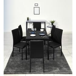 Conjunto Mesa e 6 Cadeiras ALBERTO Preto