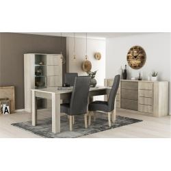 Pack de Mesa de Jantar CANNES CHIADO + 4 Cadeiras de Sala ISABEL Antracita