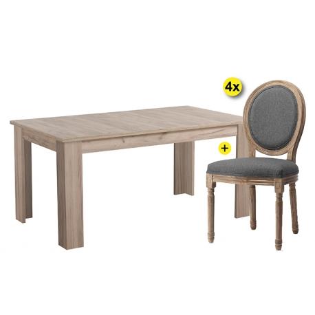 Pack de Mesa de Jantar Extensível OSCAR Cinza + 4 Cadeiras Medalhão CLOVIS
