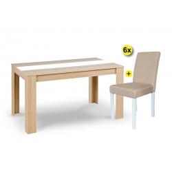 Pack Mesa de Jantar DOMUS e 6 Cadeiras ISABELINHA Tecido Bege