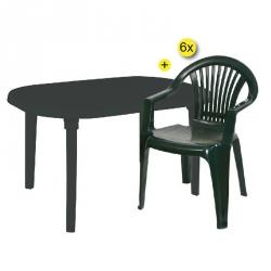 Pack Mesa de Jardim + 6 Cadeiras BRAGA Verde Escuro