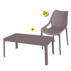 Pack Mesa de Centro OXY + 2 Cadeiras Empilháveis OXY