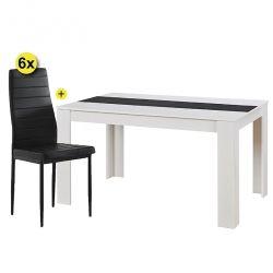 Pack Mesa de Jantar DOMUS e 6 Cadeiras ZARA II Preta