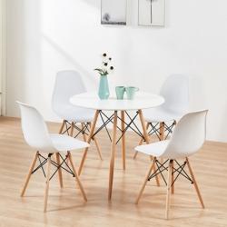 Pack Mesa de Jantar Redonda COPENHAGEN + 4 Cadeiras de Sala DENVER Branco