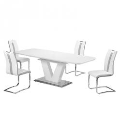 Mesa de Jantar Extensível ELEGANCE Branco Brilho