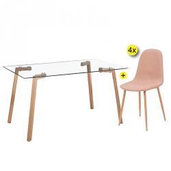 Pack de Mesa de Jantar KANSAS + 4 Cadeiras de Jantar LEE Bege