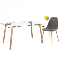 Pack de Mesa de Jantar KANSAS + 4 Cadeiras de Jantar LEE Cinza