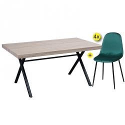 Pack de Mesa de Jantar GIORGIO + 4 Cadeiras de Jantar LEE Velvet Verde