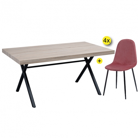 Pack de Mesa de Jantar GIORGIO + 4 Cadeiras de Jantar LEE Velvet Rosa
