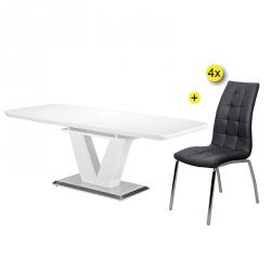 Pack Mesa de Jantar Extensível ELEGANCE + 4 Cadeiras de Jantar CALLY II Preto