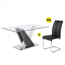 Pack Mesa de Jantar PATRICIO + 4 Cadeiras FABIO Preto