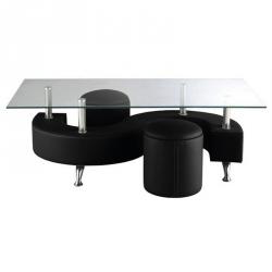Mesa de Centro com 2 Poufs ALPHA Preto