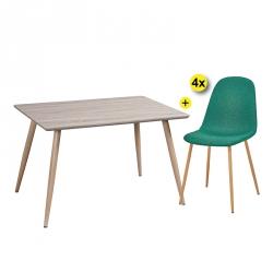 Pack de Mesa de Jantar VICHY + 4 Cadeiras de Sala LEE II Tecido Verde