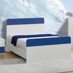 Cama de Corpo e Meio Simples PLAY 110x195cm Branco e Azul