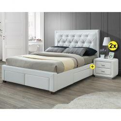 Pack Cama de Casal BIA Branco 160x200cm + 2 Mesas de Cabeceira ELYSEE Branco