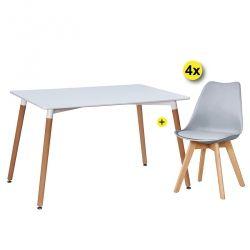 Pack Mesa de Jantar DENVER + 4 Cadeiras SOFIA II Cinza Claro