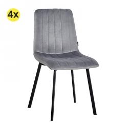 Pack de 4 Cadeiras de Sala JAZZ - Velvet Cinza