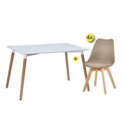 Pack Mesa de Jantar DENVER + 4 Cadeiras SOFIA II Taupe