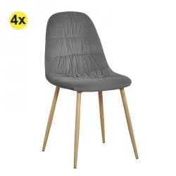 Pack de 4 Cadeiras de Sala BRUCE Antracite
