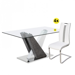 Pack Mesa de Jantar PATRICIO + 4 Cadeiras NATALIA Branco e Cinza