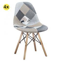 Pack 4 Cadeiras de Sala FESTA Patchwork Cinza