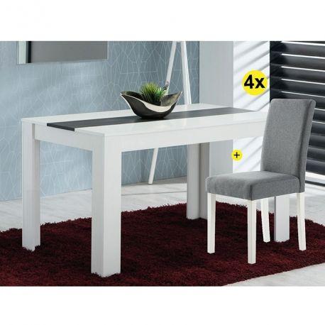 Pack Mesa de Jantar DOMUS e 4 Cadeiras ISABELINHO Cinza