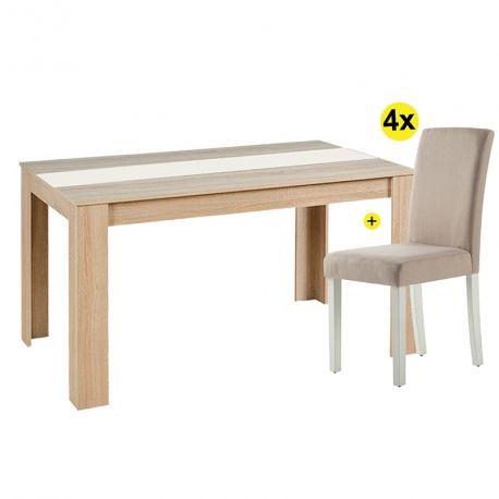 Pack Mesa de Jantar DOMUS e 4 Cadeiras ISABELINHO Bege
