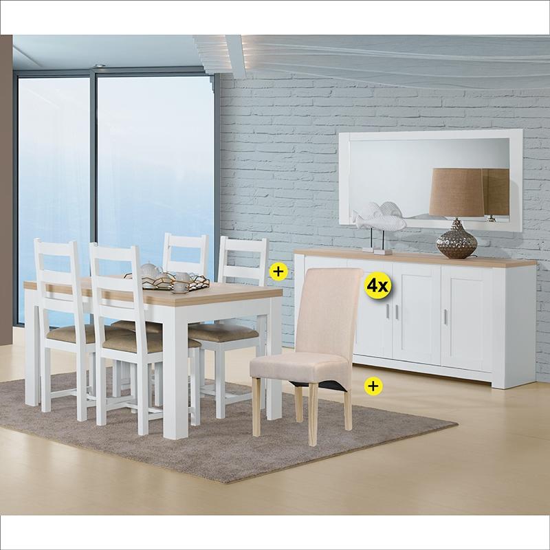 Pack Sala de Jantar FLORENÇA Branco e Carvalho + 4 Cadeiras ISABEL Bege