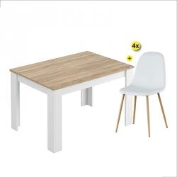 Pack Mesa de Jantar Extensível BARCELONA Carvalho e Branco Mate + 4 Cadeiras de Sala LEE II Branco