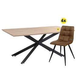 Pack Mesa de Jantar TRENDY Carvalho + 4 Cadeiras de Sala EVEREST