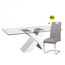 Pack Mesa de Jantar ELITE II Branco + 4 Cadeiras de Sala BILBAO Cinza