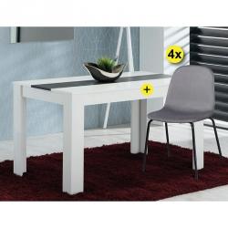 Pack Mesa de Jantar DOMUS e 4 Cadeiras GABY Cinza