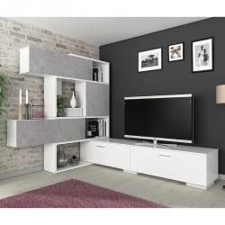 Estante TV CASABLANCA Branco e Betão