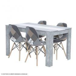 Pack Mesa de Jantar DOMUS Betão e 4 Cadeiras FESTA Patchwork Cinza