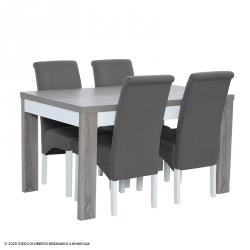 Pack Mesa Extensível PARIS (Cinza) + 4 Cadeiras ISABEL (Taupe)